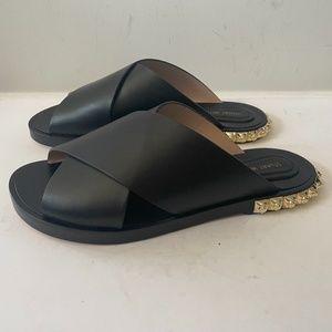 NEW Stuart Weitzman Black Leather Flat Sandal
